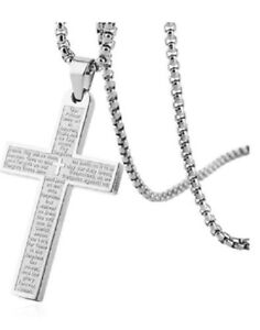 HZMAN Stainless Steel Cross Necklace Lord's Prayer Silver Pendant Necklace