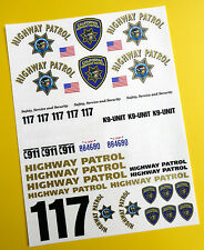 RC 10th SCALE CALIFORNIA HIGHWAY PATROL 'CHiPs'  Decals Stickers police tamiya