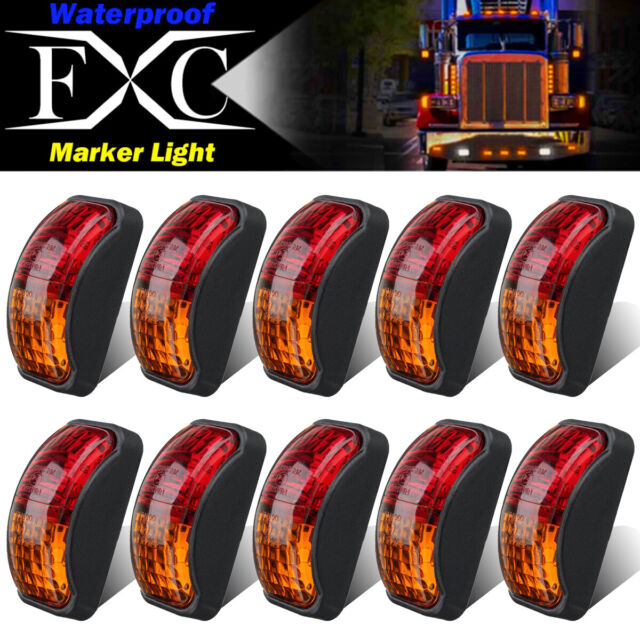 Taillight Brake Stop Lamp 12V FXC 6 LED Clearence Light Front Rear Side Marker Indicators Light for Truck Car Bus Trailer Van Caravan Boat 4 Amber+4 Red
