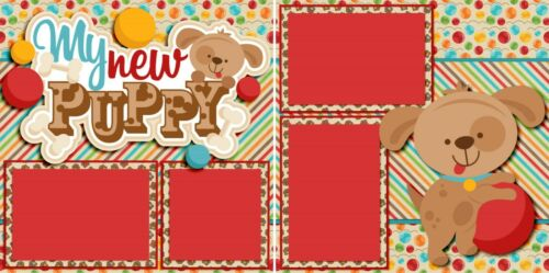2 Premade Scrapbook Pages My New Puppy EZ Layout 4026 Red