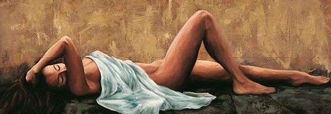 Romeo  Pensiero Keilrahmen-Bild Leinwand Frau Akt Mädchen liegend