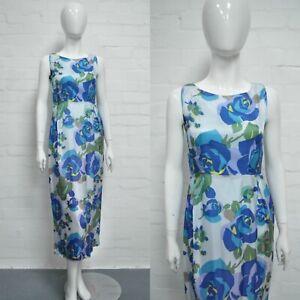 Vintage 1950's Azul Floral Vestido 8 Slash Cuello Largo Noche / Fiesta/Boda True