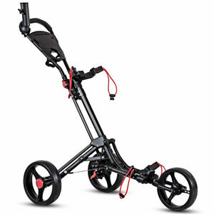 Foldable-3-Wheel-Golf-Pull-Push-Cart-Trolley-w-Umbrella-Scorecard-Drink-Holder