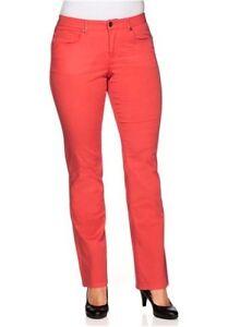 Details zu Sheego Stretch Hose Business Casual Damen Langgröße Koralle Rot 40 58 Stoffhose