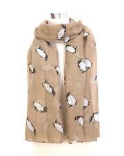 Women/Girls Cute Penguin Print Fashion Maxi  Scarf Shawl Wrap Sarong Beige **