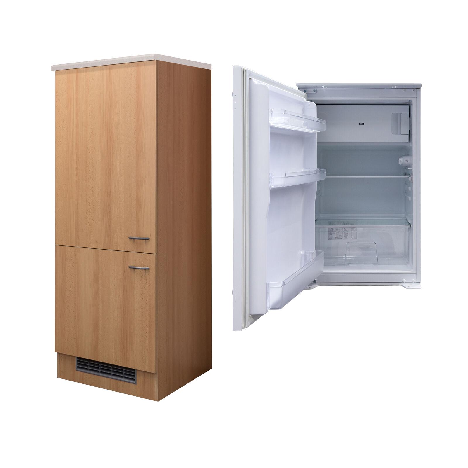 Einbaukühlschrank mit Kühlschrankumbau Kühlschrank Umbauschrank 161cm hoch buche