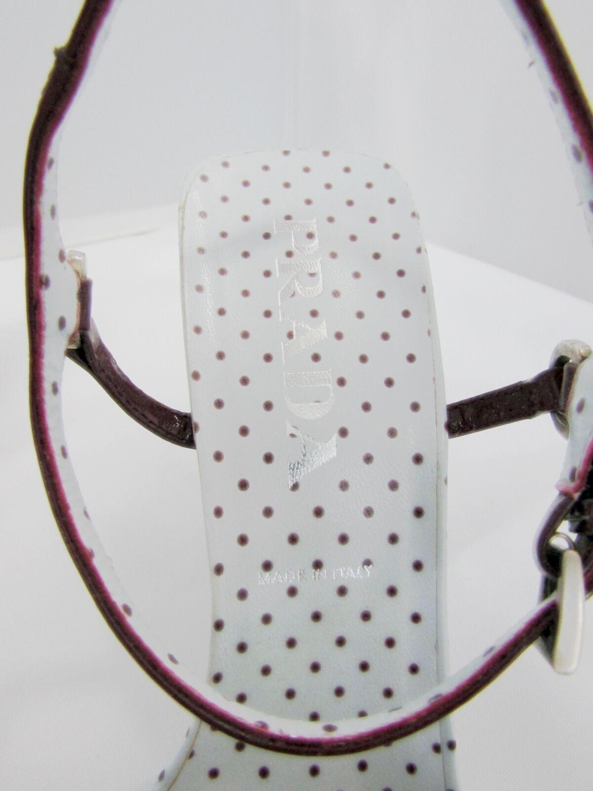 NEW PRADA CUTOUT 38.5 POLKA DOT WEDGES SANDALS WINE Weiß 38.5 CUTOUT 8.5 ASYMMETRIC HEEL fad2c3
