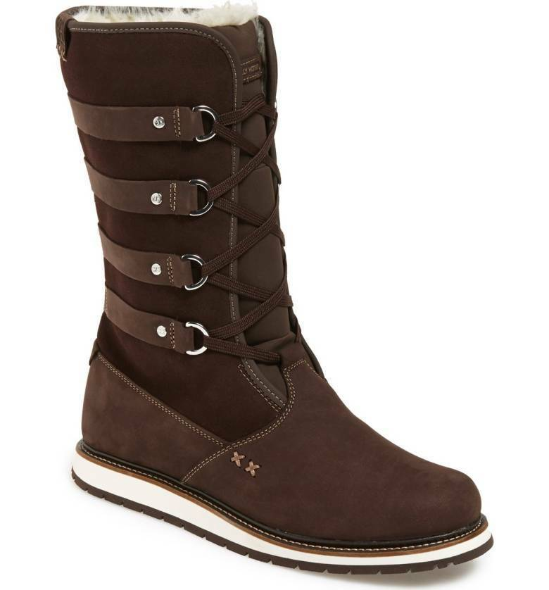 NEW HELLY HANSEN kvinnor Hedda Lace -Up Läther Cold -Weather Boot US 8 Coffee Bean