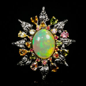Special-11-ct-AAA-Gemstone-Natural-Opal-925-Sterling-Silver-Ring-Size-8-5-R86379