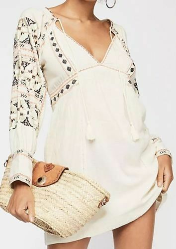 XL NWT $148 Free People All My Life Ivory Embroidered Mini Dress Tunic Size L
