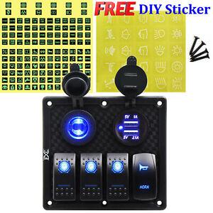 FXC-4-Gang-Marine-Boat-Rocker-Switch-Panel-12V-LED-Lighted-Fuse-Breaker-Switches