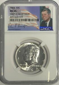 1964-P-NGC-MS65-SILVER-KENNEDY-HALF-DOLLAR-FIRST-YEAR-SIGNATURE-90-COIN-JFK