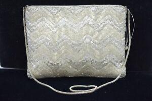 Walborg-NWT-Bag-Clutch-Purse-Heavy-Beaded-Metallic-White-Silver-Vintage-Formal