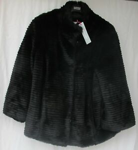 LADIES-MARKS-AND-SPENCER-PER-UNA-BLACK-FAUX-FUR-JACKET-SIZE-LARGE-FIT-16-18