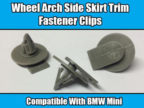 10x Clips Pour BMW Mini Cooper wheel arch jupe bordure Fastener Gris R50 R52 R53