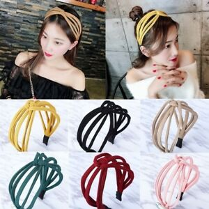 Woman Fashion Split Crossover Headband Patchwork Hair Accessories Headwear