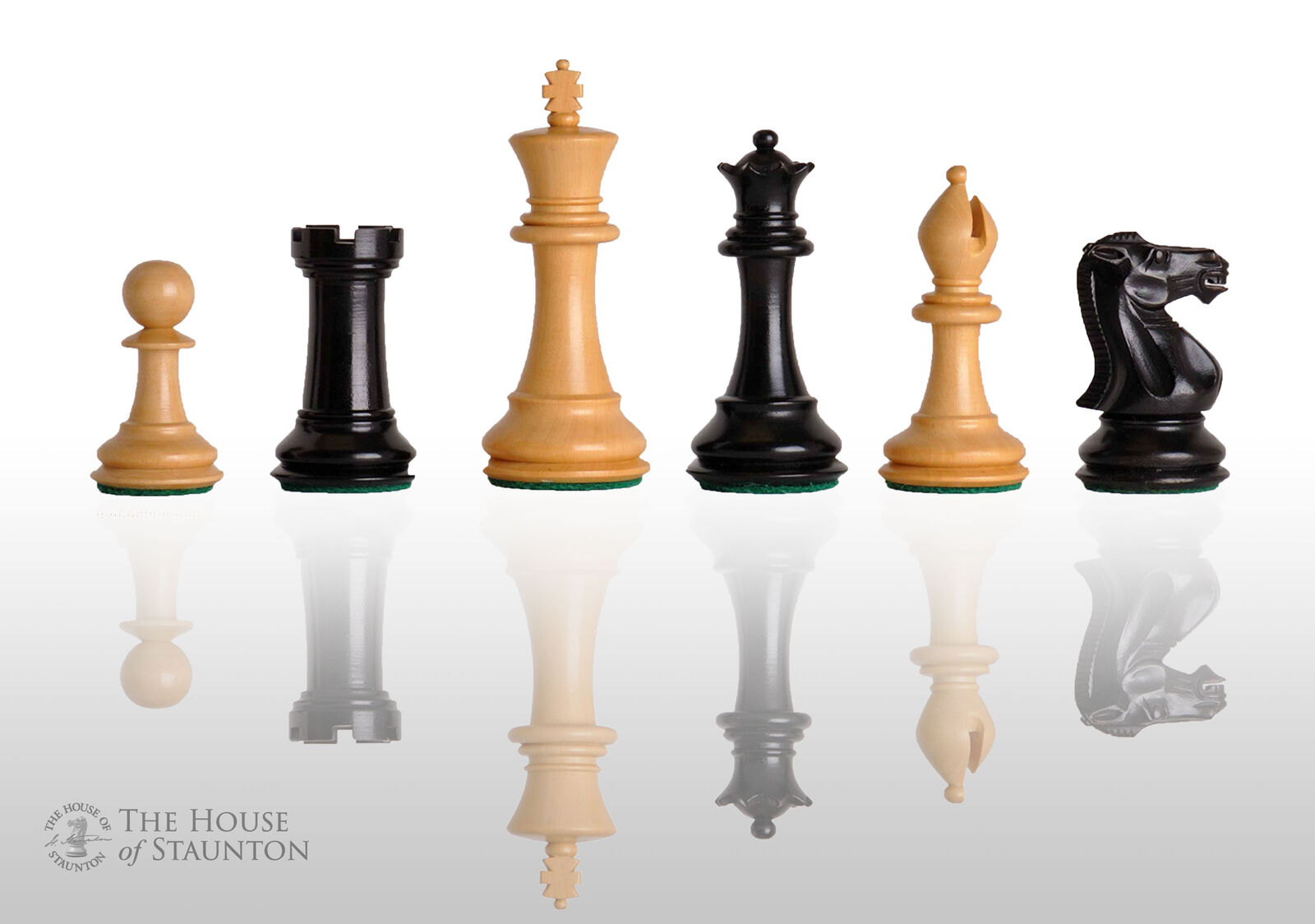 The Congress Chess Set - Pieces Only - 3.75  King - Ebonized Boxwood
