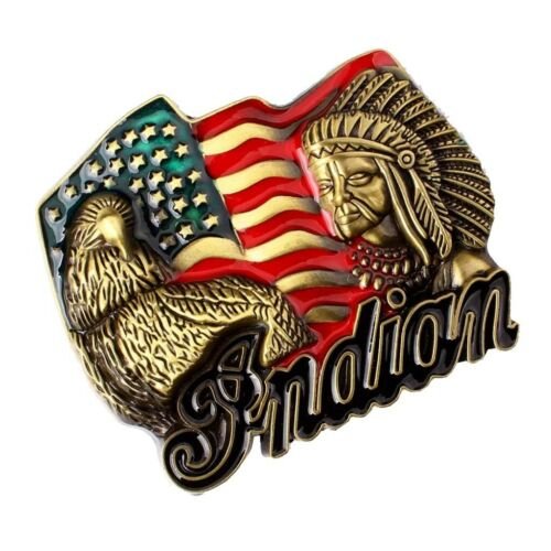 Rodeo Western Cowboy Indian Chief Belt Buckle Eagle Jeans Leather Belt Decor