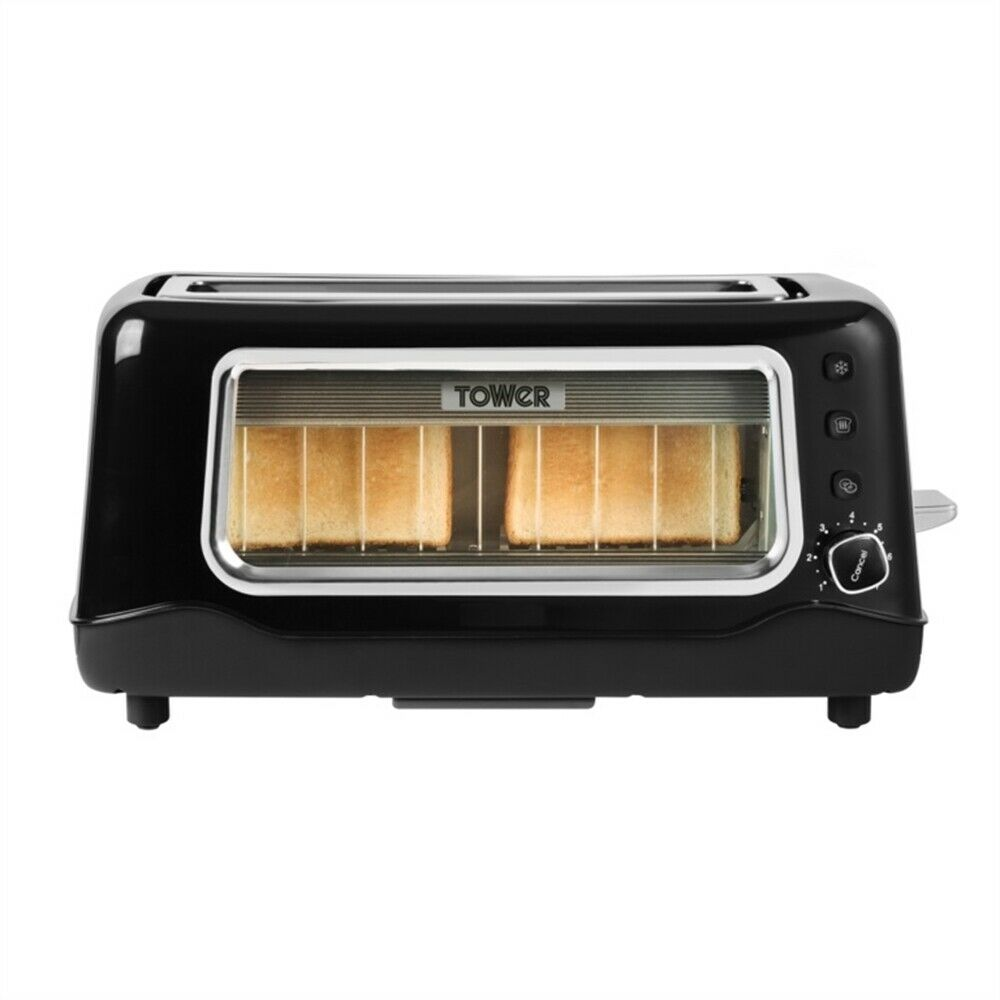 Tower Long Slot Glass Toaster 2 Slice
