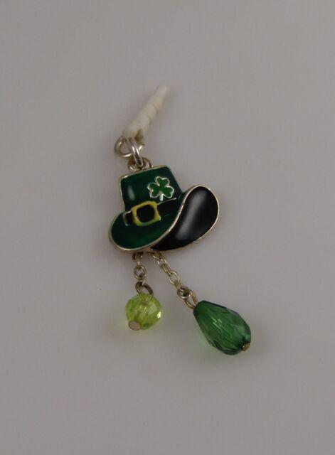 shamrock bling leprechaun hat cell phone  charm ear cap dust plug St. Patrick