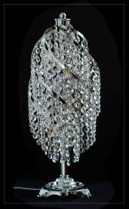 Echtes-Kristall-Nachttisch-Schreibtisch-Lampe-Tischlampe-Gold-oder-Silberfarben