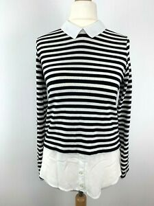 Womens-Atmosphere-Shirt-Top-Jumper-Blouse-Stripes-Black-white-Size-10-Uk-27