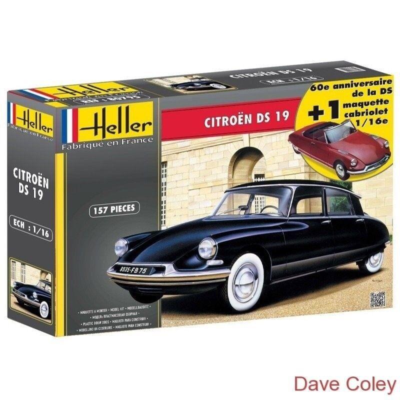 Heller 85795 1 16th scale Citroen DS 19 60th Anniversary model 2 kits in 1 box
