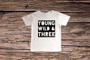 b3fa61ce1 THIRD BIRTHDAY SHIRT~BOYS BIRTHDAY SHIRT~YOUNG WILD & THREE BIRTHDAY ...