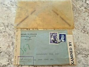 Vintage-Postage-Envelope-1942-Istanbul-to-New-York-City-Rare-Marks-Stamps