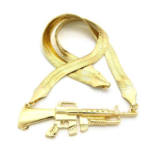 "New Machine GUN Pendant w//9mm 16/"" Herringbone Chain Fashion Necklace FRC413"