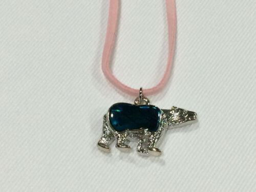 Polar Bear Pendant Necklace on Pink Cord Beautiful Abalone Paua Shell Bear