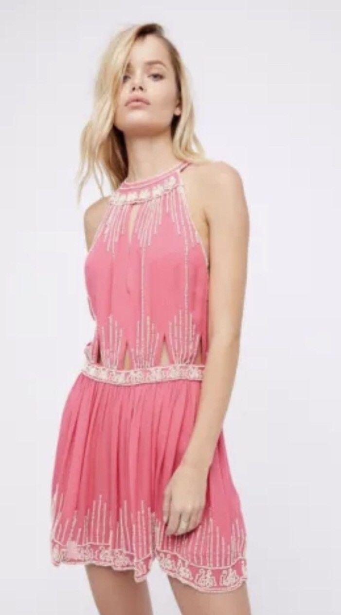NEW Free People Pink Halter Beaded Mini Dress Embellished Size Medium m boho