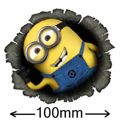Despicable Me Bullet Hole Minion Sticker 100mm MY FAMILY WINDOW CAR HOON JDM