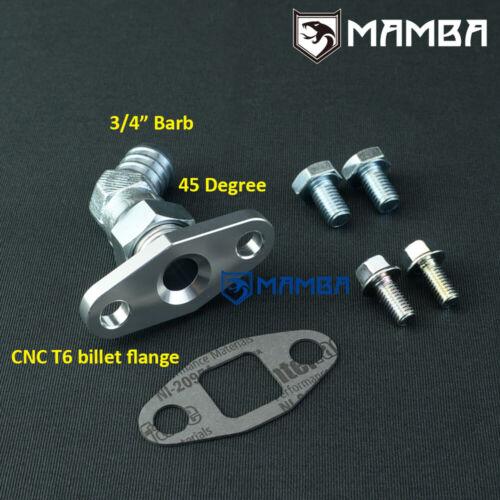 """45 Deg 3//4/"""" Barb Turbo Oil Return Drain Flange Kit For Precision PTE GEN2 6466"""