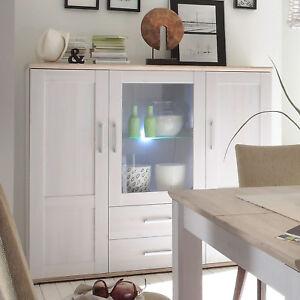 highboard romance anrichte schrank in sibiu l rche eiche san remo hell inkl led ebay. Black Bedroom Furniture Sets. Home Design Ideas