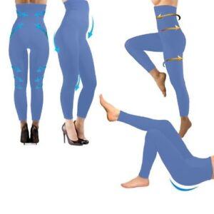 Détails sur Legging minceur bleu taille haute molletoné anti cellulite S M L XL XXL XXXL