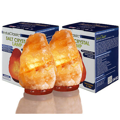 New Indus Classic Pack 2 Gift Idea Himalayan Rock Crystal Salt Lamps 5 ~ 7 Lbs