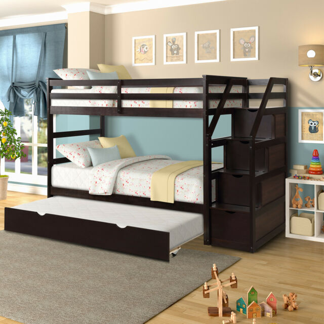 Kids Twin Loft Bed With Storage Wood Bunk Over Shelf Organizer