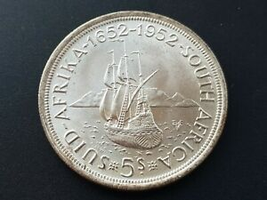 SOUTH-AFRICA-1952-GEORGE-VI-FOUNDING-OF-CAPETOWN-SILVER-5-SHILLINGS-CROWN-UNC