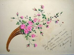 French Liber Amicorum Cornucopia Flowers W/col1904 Elegant And Sturdy Package Art Drawings