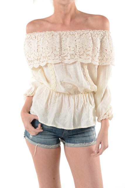 Sweet Swagger Bohemian Lace Off The Shoulder  Summer Top Blouse SIENNA TRIBE