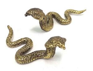 2 x Cobra snake Miniture Brass figures cast in India