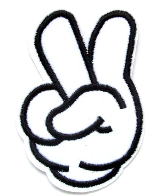Cartoon Peace Sign Hand Iron On Patch Badge Hippy Gift Embroidered