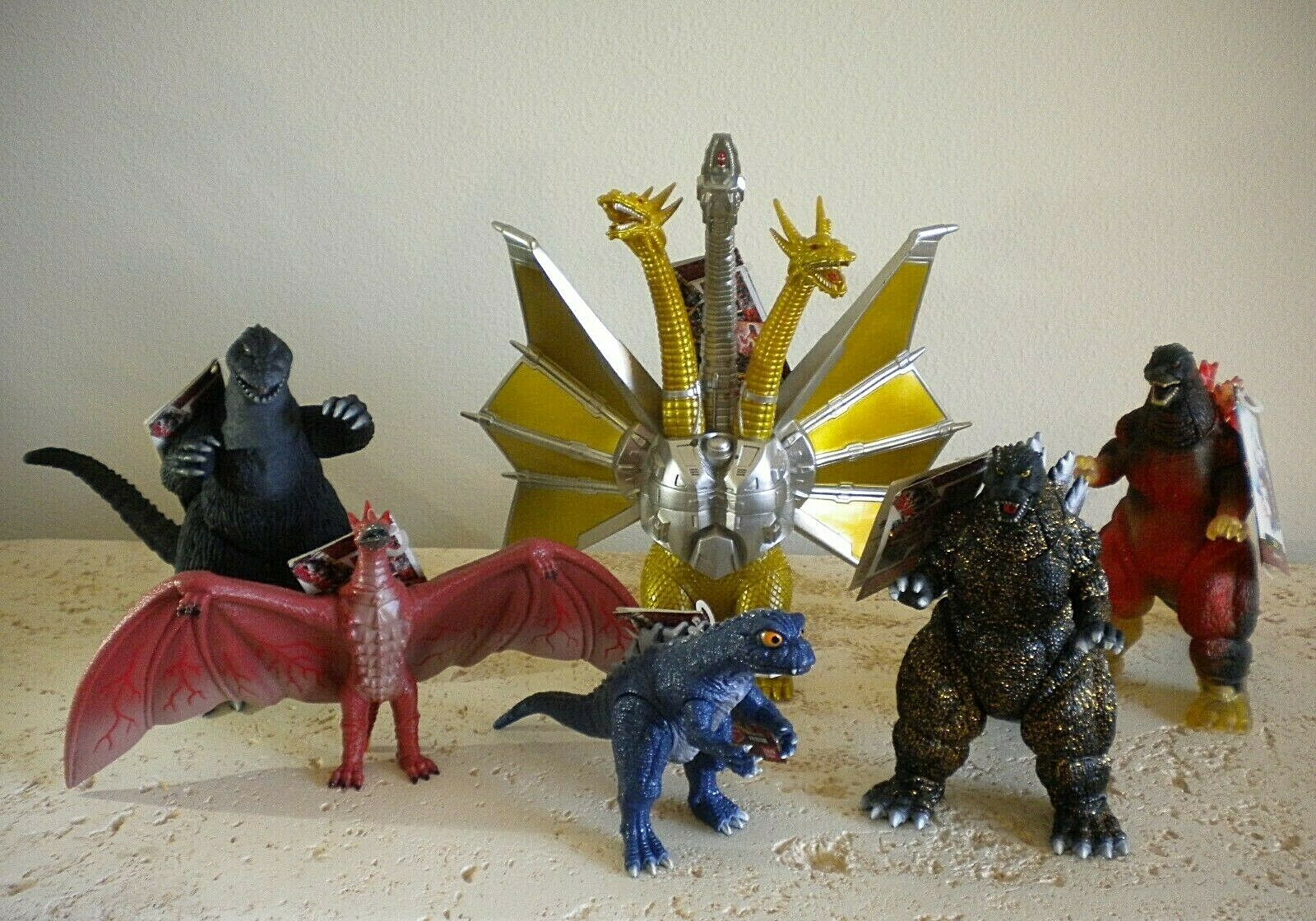 BANDAI 1996 - GODZILLA FOREVER SERIES COMPLETE 6 PIECE 8 8 8  SCALE FIGURE SET - NEW 8788ef