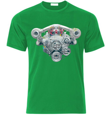 V8 TWIN TURBO SUPERCHARGED ENGINE R8 M6 AMG GT MUSCLE CARS  Fan T Shirt  T-SHIRT