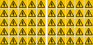 50x50mm Reflective Label 10x Pack Electrical Shock Warning Symbol Sticker