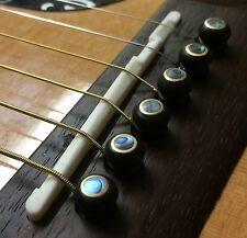 🎸 Quality Ebony Abalone Paris Eye Bridge Pins Set 6 Acoustic Guitar String Pegs