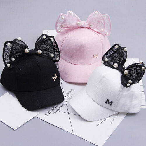 HK Baby Girls M Letter Baseball Cap Summer Big Bowknot Pearl Beach Sun EG/_ FM