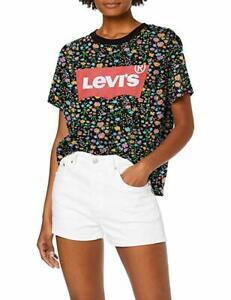 Detalles de Levis Vaqueros Mujer Universitaria Camiseta Todo Dunsmuir Floral Murciélago