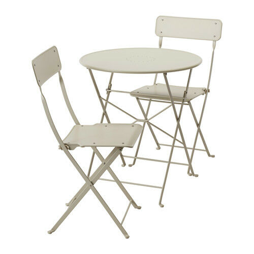 Ikea Saltholmen Outdoor Table And 2 Folding Chair Patio Balcony